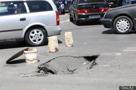 Bakıda yenə asfalt çökdü