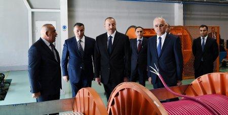 İlham Əliyev Bakıda zavodun açılışında iştirak edib