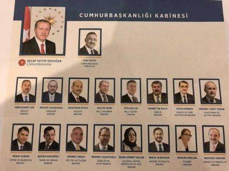 Ərdoğan Türkiyə hökümətinin yeni tərkibini açıqlayıb