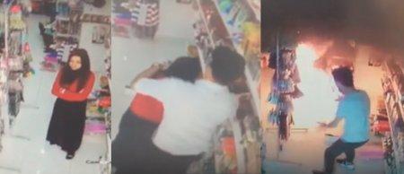 Gəncədə ağılasığmaz hadisə: kişi marketdə hicablı qadını diri-diri yandırdı