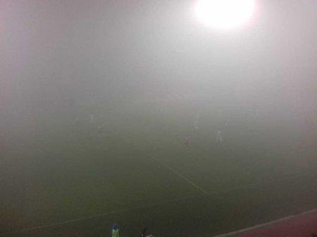 Qəbələni qatı duman bürüdü, futbol oyunu yarımçıq qaldı